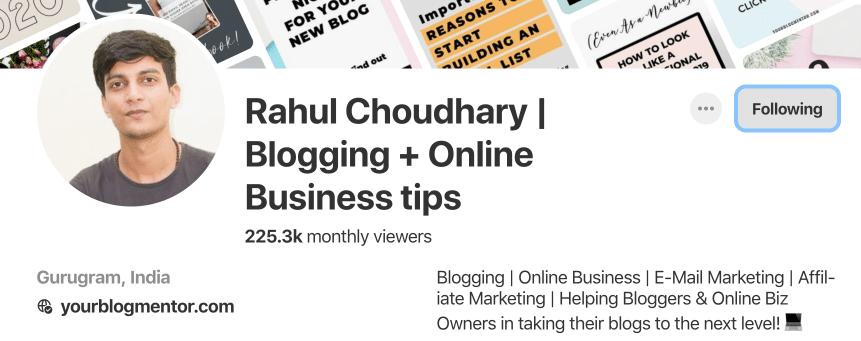 Rahul Pinterest profile