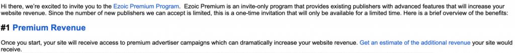 Ezoic Premium Program Invitation