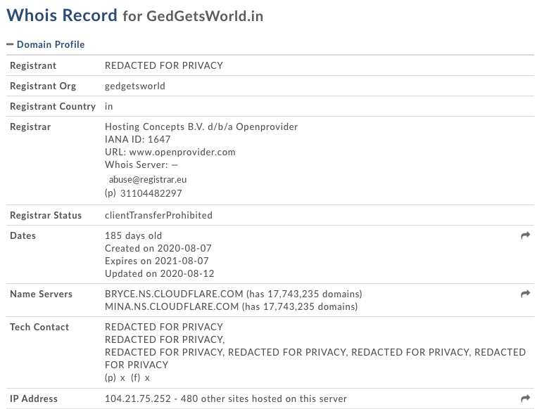 scammer whois info